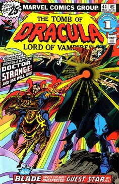 Tomb of Dracula 44 color | This classic cover sold for $26,290 sold for last August! Can you believe it? I can, since the hype for the Dr. Strange movie must have driven up demand for this one. Gene Colan and Tom Palmer on the art, the line work is quite impressive in black and white! In color it seems like a hippie dream come true...