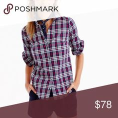 """Perfect shirt in plaid. NWT NWT currently $78 on Jcrew website. Brand new. Perfect shirt in plaid Body length: 26 3/4"""". Size 10. Reviews on j crew says it seems to run on the smaller scale.  🚩PLEASE READ: PRICE FIRM. I don't trade & no offsite transactions. Posh only. No Holds.🚩 J. Crew Tops Button Down Shirts"""