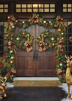 florists choice designer front door frontgate christmas decor traditional holiday decorations by frontgate - Front Door Entrance Christmas Decoration
