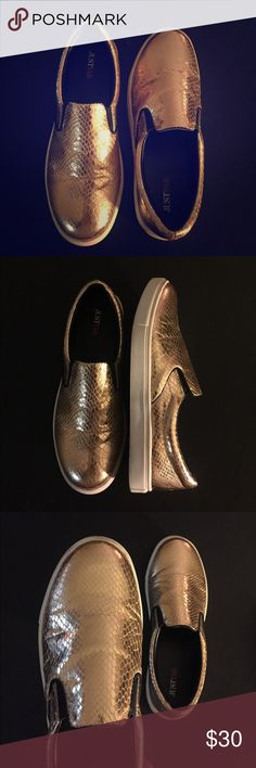 Gold slip-on fashion shoes Gold snake skin slip- ons. Worn maybe twice. Perfect condition. The only wear would be bottom of shoe because if white sole. JustFab Shoes Sneakers