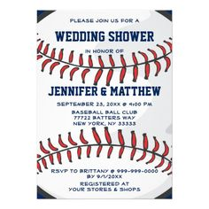 Baseball Ball Player Fan Wedding Shower Blue 2 Invitation #wedding #invitations