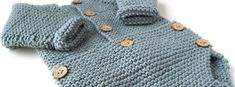 Warm and comfortable as can be, this Knitted Baby Onesie will be a delightful gift for anyone expecting a baby! The easy knitting pattern is quick, too. Baby Boy Knitting Patterns, Knitting For Kids, Baby Patterns, Baby Knitting Patterns, Knit Baby Sweaters, Knitted Baby Clothes, Crochet Baby Hats, Onesie Pattern, Free Pattern
