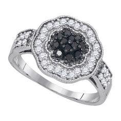 1/2CTW-Diamond BLACK RING