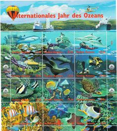 United Nations - UNESCO Stamp Souvenir Sheet - International Year of the Oceans, 1998.