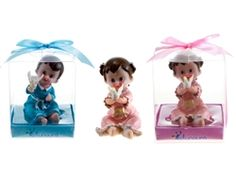 """3.25"""" Poly Resin Baby w/ Dove Favor - Colored (With Decorative Gift Box). Available for boy or girl. Only $17.00 for 12 pieces."""