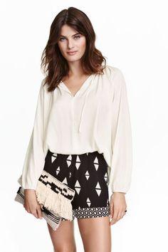 Satin blouse - White - Ladies   H&M GB 1