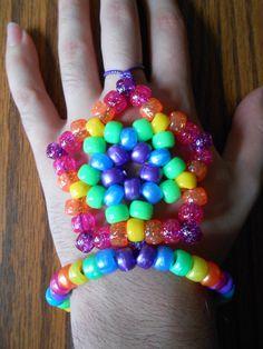 Rainbow Star Lotus Kandi Slave Bracelet by kabukizombie on Etsy, $5.00