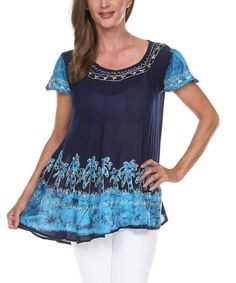 Look at this Ananda's Collection Navy Embroidered Tunic on #zulily today!