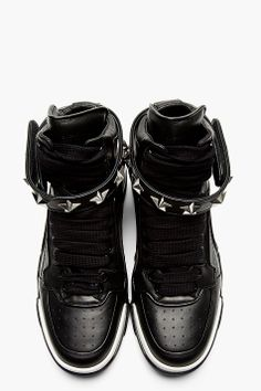 GIVENCHY Black Leather Star Tyson High-Top Sneakers