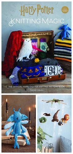 Besides the patterns that help you create your own Hogwarts house scarf, the book also includes patterns Dolores Umbridge's pink scarf, and a Hogwarts-inspired baby mobile featuring the house symbols and the Sorting Hat. Knitting Books, Knitting Ideas, Knitting Patterns, Crochet Patterns, Crochet Things, Crochet Gifts, Pattern Design, Free Pattern, Origami