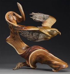 Flight of the Falcon | Bronze is melded to West Texas Juniper.