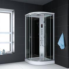Paris steamdusj 100 x 100 med sort bakglass og klart frontglass 106309