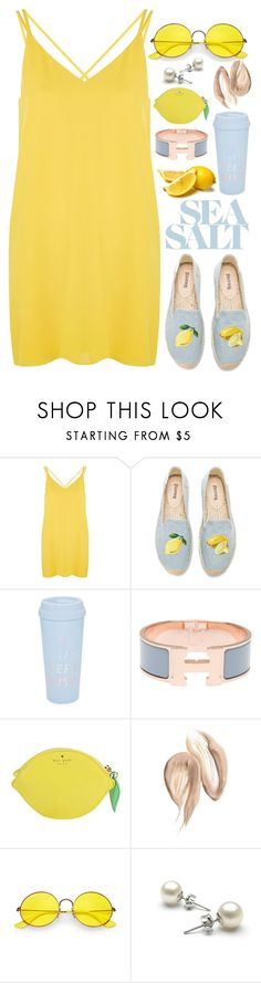 """Sea Salt"" by kristen-mys ❤ liked on Polyvore featuring Topshop, Soludos, ban.do, Hermès, Kate Spade and Ray-Ban"