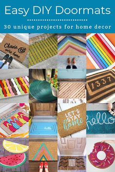 Get 30 ideas for a DIY doormat! Whether you want to make your own from wood or simply fix up an old mat, you'll love these easy tutorials. Fun Crafts, Crafts For Kids, Outdoor Acrylic Paint, Bubble Quotes, Retro Fabric, Diy Door, Cool Diy Projects, Easy Halloween, Wooden Diy