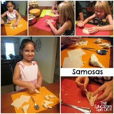 Making Samosas and Mint Chutney with Kids from The Educators' Spin On It- around the World in 12 Dishes- India Indian Recipes For Kids, Indian Food Recipes, Diwali Recipes, Diwali Activities, Activities For Kids, Movement Activities, Preschool Activities, Easy Meals For Kids, Kids Meals