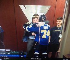 Oshie & Tank Hug Pt. 2: Injured Blue Vladimir Tarasenko congratulates TJ Oshie in the tunnel following his first career hat trick