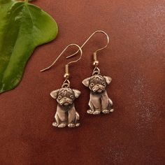 Bronze Pug Puppy Earrings by TheMagicZoo on Etsy, $48.00