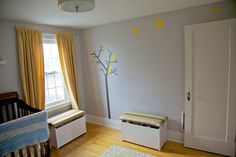 I'll paint a tree on Sam's bedroom wall. This model is cute and simple.     [Joaquin's Worth-the-Wait Nursery My Room]