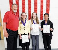 Optimist Club Zone 2 Lt. Gov. Rob Kelley and contestants Lauren Bigler (first place), Evelyn Moyer (second place) and Wendy Renteria (third place) are