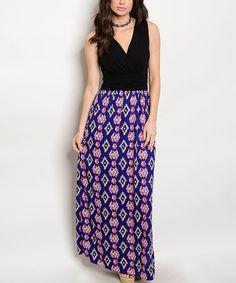 Black & Royal Geometric Maxi Dress #zulily #zulilyfinds