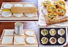 Ingredientes: -Pão de forma -Queijo a sua escolha (Gruyére, Parmesan, Provolone, Mozzarella) -Cream cheese -Bacon bits ou presunto (opcional) -vegetais *5 minutos no forno.  Fonte;https://www.facebook.com/Supercakerio/photos/a.532712030099538.1073741828.528809623823112/755002484537157/?type=1&theater