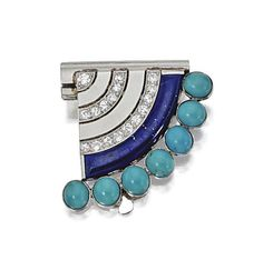 ART DECO TURQUOISE, LAPIS LAZULI & DIAMOND BROOCH, VAN CLEEF & ARPELS, PARIS, CA 1925.  The fan-shaped scroll decorated with a curved segment of lapis lazuli bordered by round turquoise cabochons, further accented with 17 round diamonds in curved rows weighing approx .50 carat, mounted in platinum & white gold, signed Van Cleef & Arpels, numbered 33216, maker's mark, assay mark.