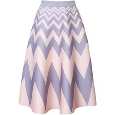 Zigzag Striped Flared Maxi Skirt (1.765 RUB) ❤ liked on Polyvore featuring skirts, long summer skirts, purple maxi skirt, zig zag maxi skirt, midi skirt and flared midi skirt