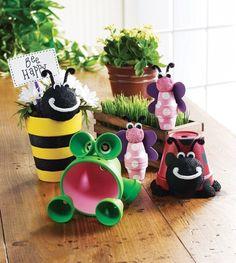 Flowerpot animals. We have to do some for this kids garden , domt u think anita