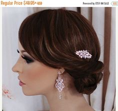 Swarovski ROSE GOLD Hair Comb Bride Bridal Wedding Crystal Accessories Accessory Clip Jewelry Headpiece Hairpiece Birdcage Veil Comb  ***Ready to ship within 3 business days from purchase!***  Stunning! Amazing Quality!  This truly gorgeous Rose Gold hair comb features dazzling clear CZ Swarovski crystals that glisten and shine in the light. You will feel extra radiant on your special day with this piece. It will coordinate perfectly with your white or ivory wedding dress. The sparkling part…