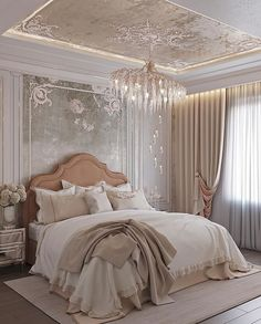 So beautiful and magical! The hand painted mural is amazing✨Painted by Artisan Incorporated Pink Bedroom Design, Art Deco Bedroom, Bedroom Inspo, Home Bedroom, Home Living Room, Modern Bedroom, Bedroom Decor, Luxury Home Decor, Luxury Homes