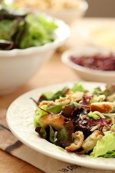 Mixed Greens Salad with Warm Roasted Garlic Dressing