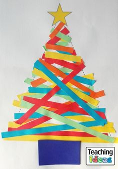 Paper Strip Christmas Trees - Paper Strip Christmas Trees are really easy to make and they look fantastic! Christmas Tree Art, Christmas Arts And Crafts, Alternative Christmas Tree, Preschool Christmas, Christmas Makes, Christmas Activities, Christmas Fun, Holiday Fun, Tree Crafts