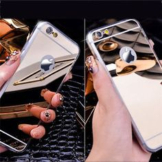 Luxury Metal Aluminum Ultra-thin Mirror Soft Case Cover for Apple iPhone Models Available For : iPhone 6 Plus,iPhone 6,iPhone 5/5s  $2.99