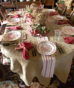 French Country Tablescape -  Burlap, Dish Towels in place of chargers, Red Transferware, Raffia and Grapevine Spheres as a Centerpiece