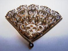 Vintage Damascene Fan Shaped Brooch by Grannytiques on Etsy, $11.95