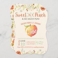 Sweet As A Peach First Birthday Invitation 2nd Birthday Invitations, 1st Birthday Gifts, Girl First Birthday, Party Invitations, Custom Invitations, Sweet Peach, First Birthdays, Gender