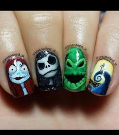 pimpmynails - The Nightmare Before Christmas nail designs for summer nail designs for short nails easy self adhesive nail stickers nail art stickers how to apply nail art stickers online Christmas Nail Art Designs, Halloween Nail Designs, Halloween Nail Art, Christmas Ideas, Trendy Nails, Cute Nails, Nightmare Before Christmas Nails, Zombie Nails, Witch Nails