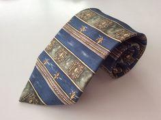 Savile Row Neck Tie Blue Green Yellow Striped Design 100% Silk #SavileRow #NeckTie