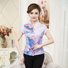 b814da130 High Quality Summer Cotton Chinese Style Women Tang Suit Tops Blouse  Vintage Traditional Chinese Shirt M L