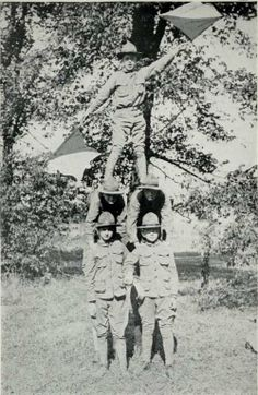 Two-Arm Semaphore Signaling by a Patrol of the Author's Troop of Boy Scouts of America