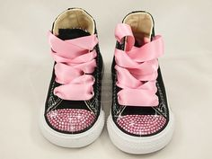 Girls Princess Pink Bling Black Converse Shoes