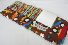 Cute for going out to restaurants. Crayon Wallet - Monster Trucks on Etsy, $14.00