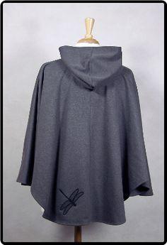 Hemp Fleece Grey Poncho Hoody with Black Qualicum Eagle Tree