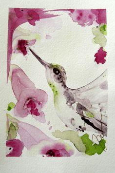 Hummingbird Original Watercolor Painting Bird Art. $40.00, via Etsy.