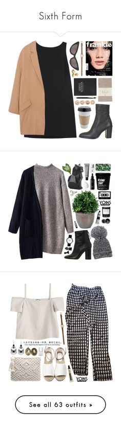 """Sixth Form"" by hxppyeol ❤ liked on Polyvore featuring Topshop, RED Valentino, MANGO, Falke, Luella, River Island, OUTRAGE, prettybasic, Isabel Marant and Byredo"