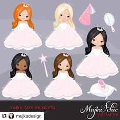 "36 Likes, 3 Comments - Mujka DESIGN (@mujkadesign) on Instagram: ""Fairy Tale princess! Comes with 14 graphics. 5 characters with different hair and skin colors.…"""