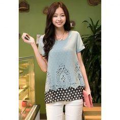 $8.24 Elegant Scoop Neck Polka Dot Short Sleeve T-Shirt For Women
