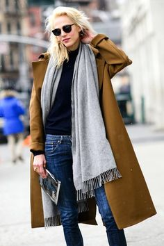 A Weekend-Ready Way To Wear A Camel Coat And Jeans