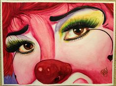 Watercolor Clown #2 Payasa Corazon Alegre    Fine Art Paper or Canvas    Giclee Print Size: 9 X 12, 11 x 14 or 16 x 20 inches    Frame: Unframed    Signed on back and on comes with signedCertificate of Authenticity    Painting Colors: White, Pink, Red and Black    The canvas will have black sides and have a wire ready for hanging.    The paper upon which the ink was applied is fine art paper : acid free, lignin chlorine free, smudge resistant. Avoid touching the surface of the print…