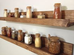 Rustic Wooden Spice Rack Ledge Shelf, Ledge Shelves, Wooden Rack, Rustic Home…